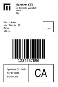 Esempio di etichetta custom creata con tecnologia Zebra.